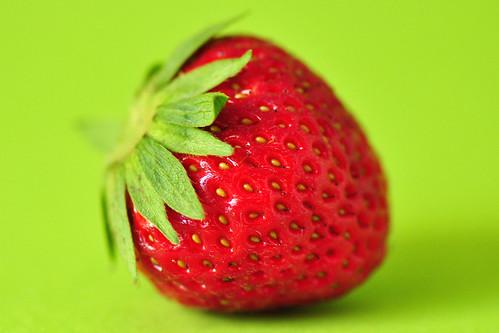 Makrofotografie Erdbeere Pfennig Pfennigstück Größenvergleich kleine Metalltiere Glas-Enten Glückschwein Glückspfennig Foto Brigitte Stolle