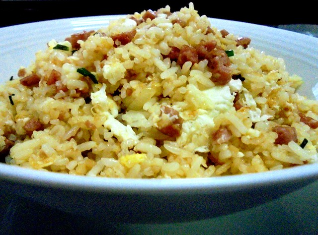 Fried rice with luncheon meat & salted egg