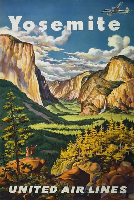 Vintage Travel Poster, Yosemite National Park, California