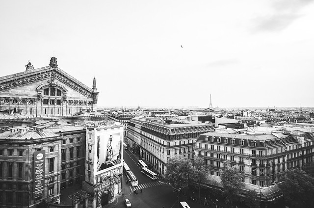 View of the Eiffel Tower and Opera Garnier from the top of the Galeries Lafayette.