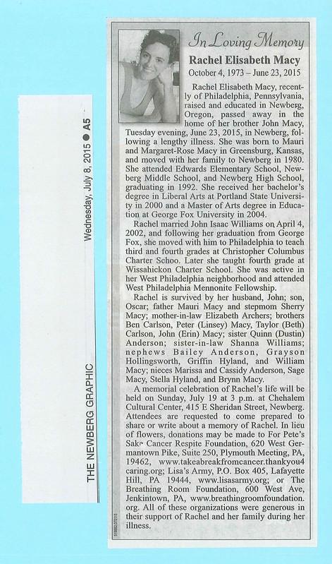 Rachel's obituary