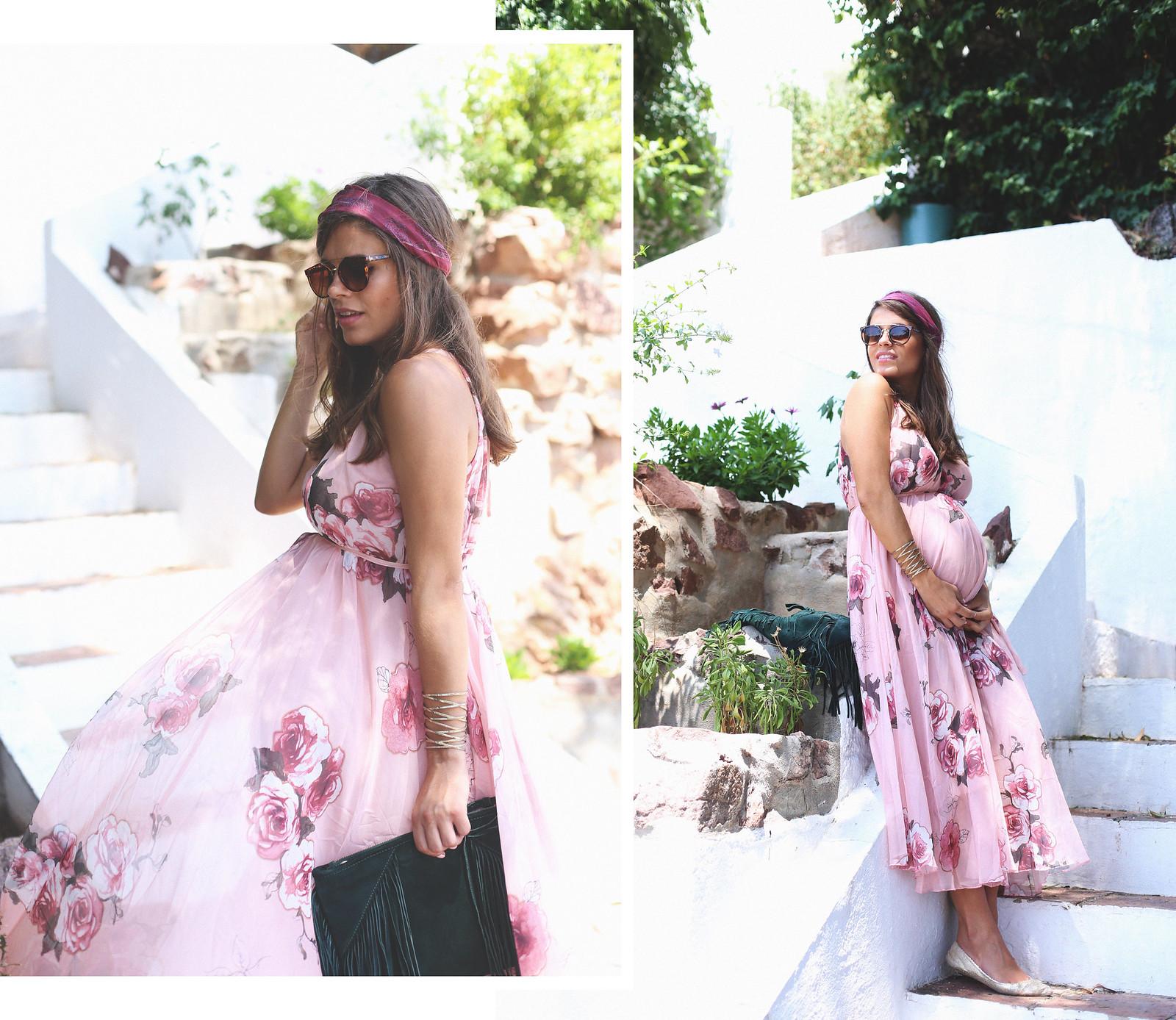1. floral print long dress - jessie chanes - pregnancy