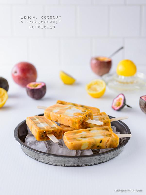 Lemon Coconut & Passionfruit Popsicles