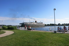 watching the badger back into port in ludington