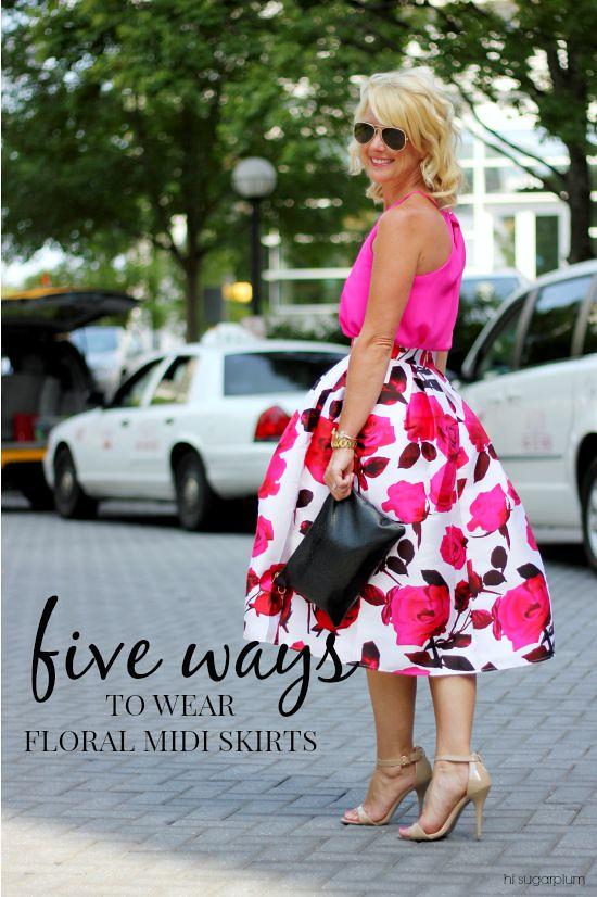 Five Ways} Floral Midi Skirts | Hi Sugarplum!