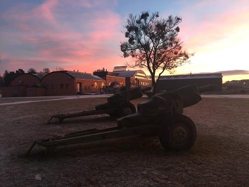 Solnedgang på Karljohansvern i Horten