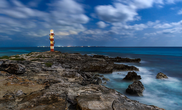 Cancun Lighthouse by full moonlight
