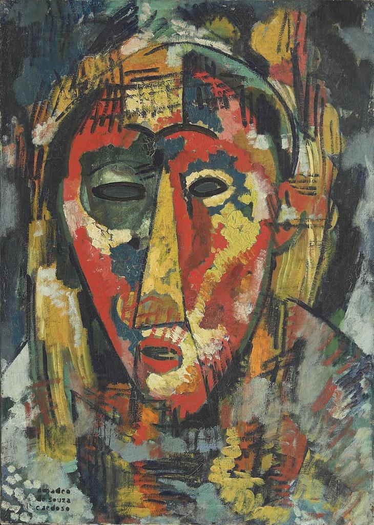 14.- A máscara de olho verde cabeça, 1915-1916. óleo sobre tela, Coleção particular