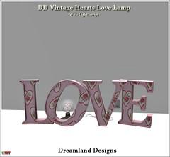 DD Vintage Hearts Love Lamp Vendor