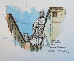 "Line and wash ""National Pantheon"" Lisbon Portugal. New YouTube Video."