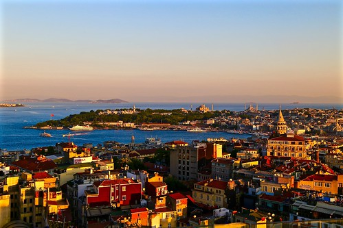 Sunset view from the rooftop bar at Mikla at The Marmara Pera