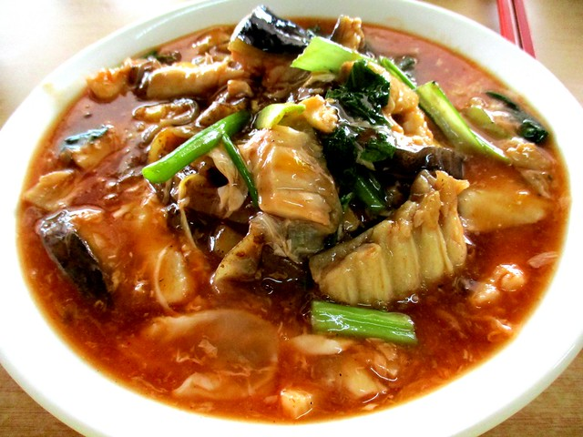 Tomato kway teow with ikan tapah
