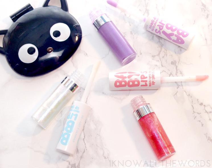Maybelline Baby Lips Moisturizing Lip Gloss 05 just a glimme, 10 a wink of pink, 20 lilac lumi(7)