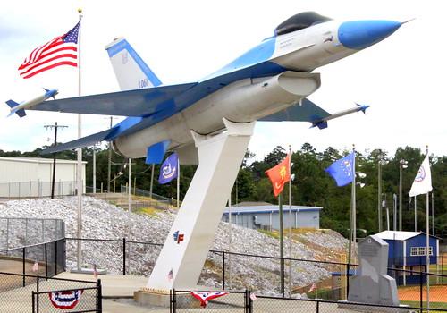 Highland Home, AL High School has an F-16 for their mascot