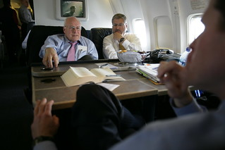 Vice President Cheney Talks with John McConnell While David Addington Listens Aboard Air Force Two