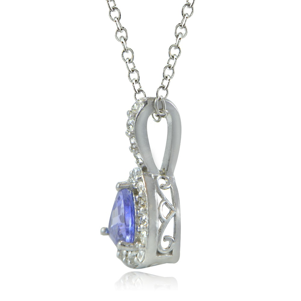 Tanzanite Necklace Tanzanite: Sterling Silver Tanzanite & White Topaz Trillion-Cut