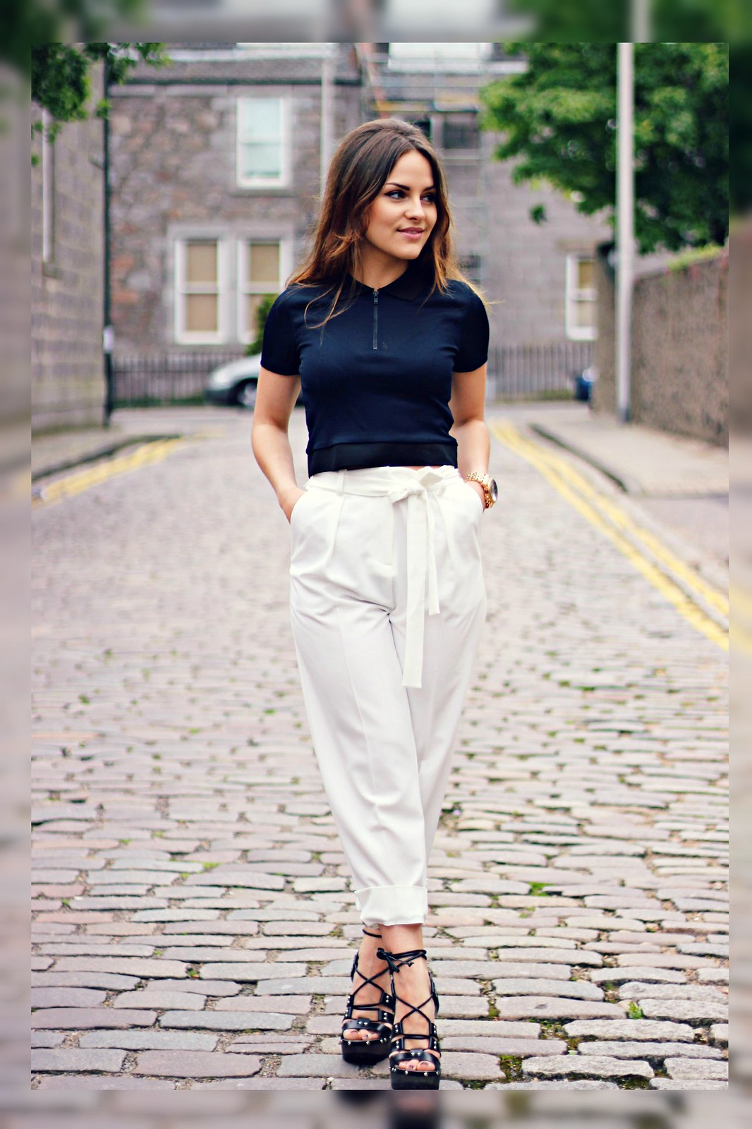 Topshop cream trousers
