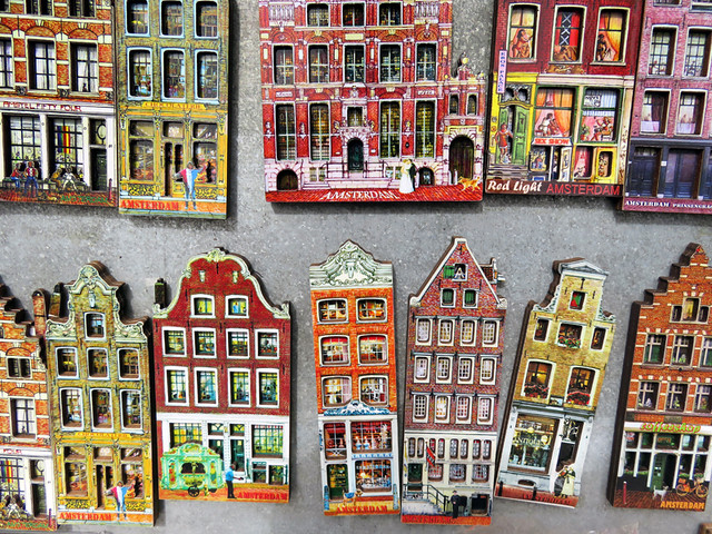 Dutch house fridge magnets for sale at one of the many markets in Amsterdam