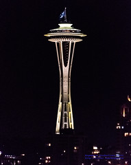Space Needle at Night W/ Ken Griffey, Jr. Flag