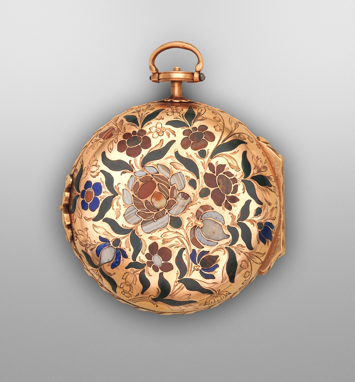1770. Watch. German, Dresden. Case gold, inlaid with hardstones. metmuseum