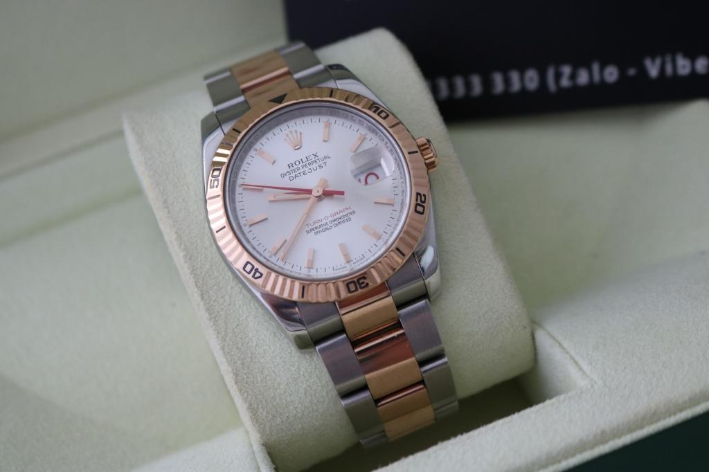 Đồng hồ rolex datejust 6 số 116261 – đè mi vàng hồng 18k – dòng turnograph – Size 36