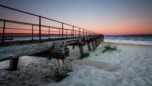sunset coast pier sand northumberland clearsky blyth northeastcoast