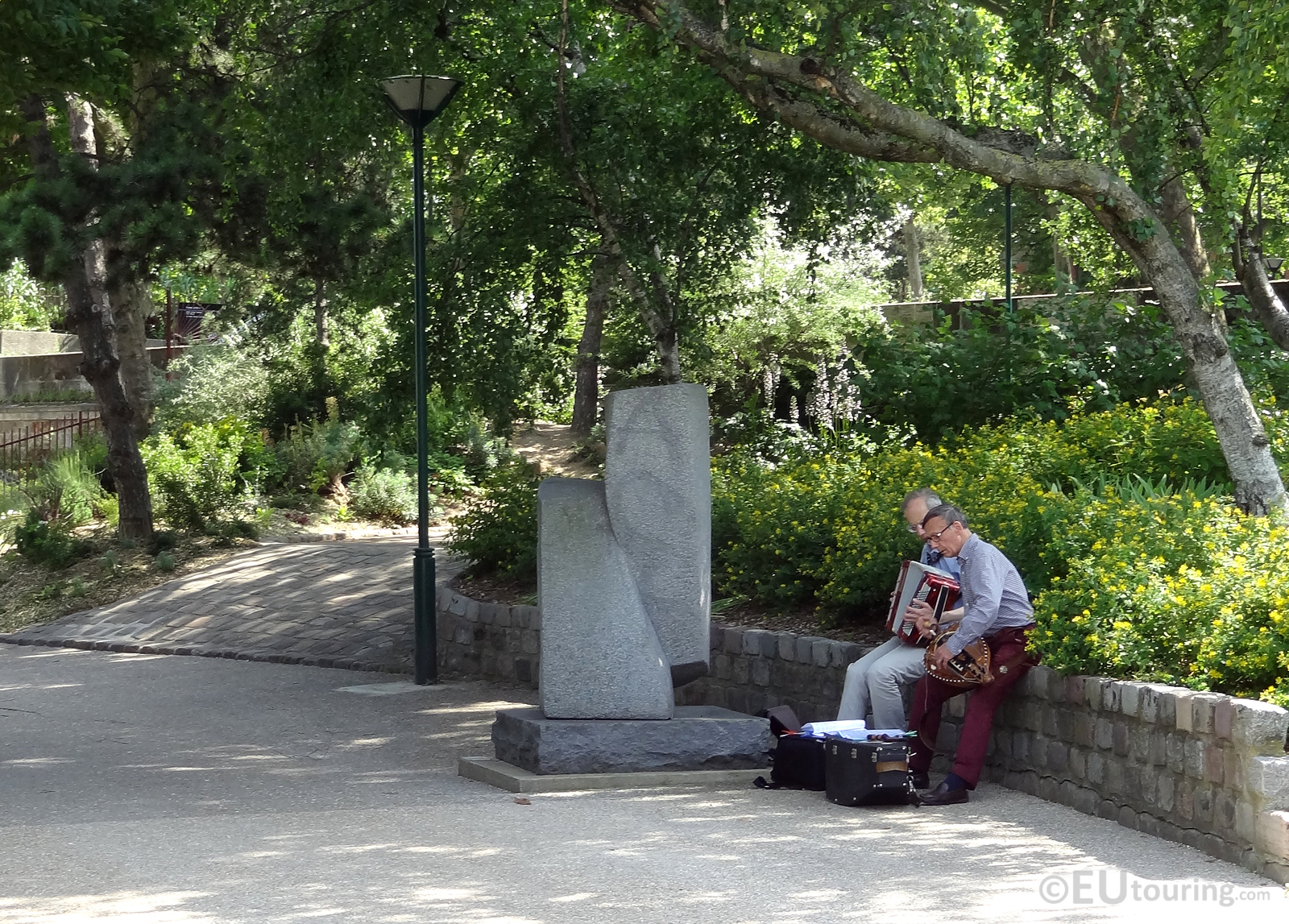 Music beside sculptures