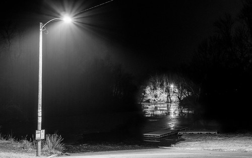 longexposure nightphotography light blackandwhite bw water monochrome rain horizontal night river dark outdoors us dock streetlight unitedstates streetlamp nobody westvirginia northamerica lit riverbank boatdock pointpleasant