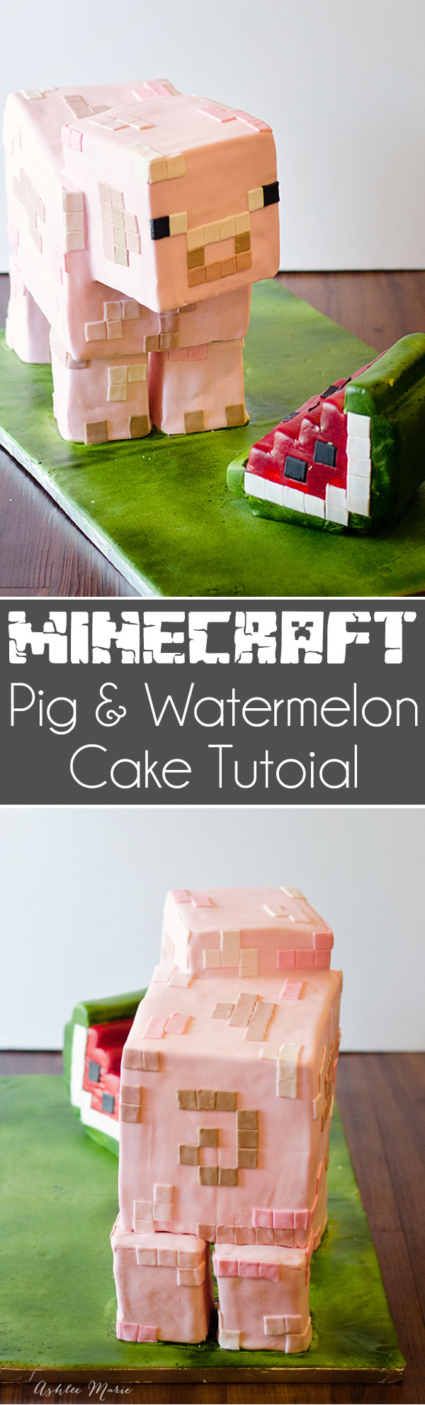 a full tutorial for making your own minecraft pig cake, with tips on building the internal structure, carving the cake and decorating it