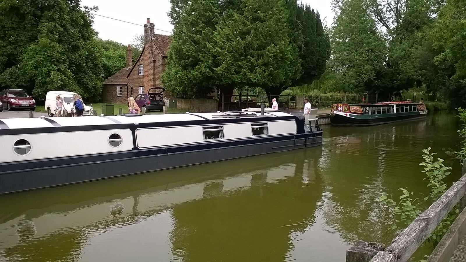 Two narrow boats, Kintbury Lock