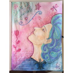 Look up to yourself finished painting! I greatly enjoyed getting out some of my art supplies (aqua markers, shimmery powders, acrylics and more) again. #mixedmedia #art #painting #drawing
