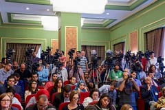 A bank of journalists watches as U.S. Secretary of State John Kerry and Egyptian Foreign Minister Sameh Shoukry speak at a news conference following a series of security and economic meetings during a Strategic Dialogue between the United States and Egypt in Cairo, Egypt, on August 2, 2015.[State Department photo/ Public Domain]