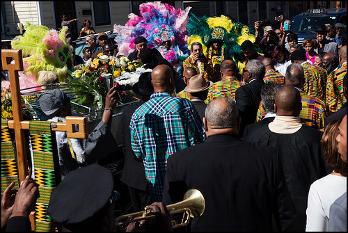 Funeral second line for Edwin Harrison on October 21, 2016 outside St. Peter Caver Church in Treme. Photo by Ryan Hodgson-Rigsbee - rhrphoto.com
