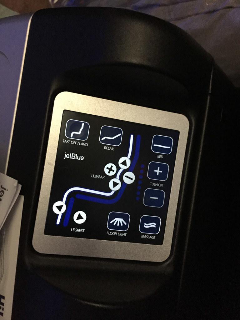 Seat Controls on JetBlue Mint Class