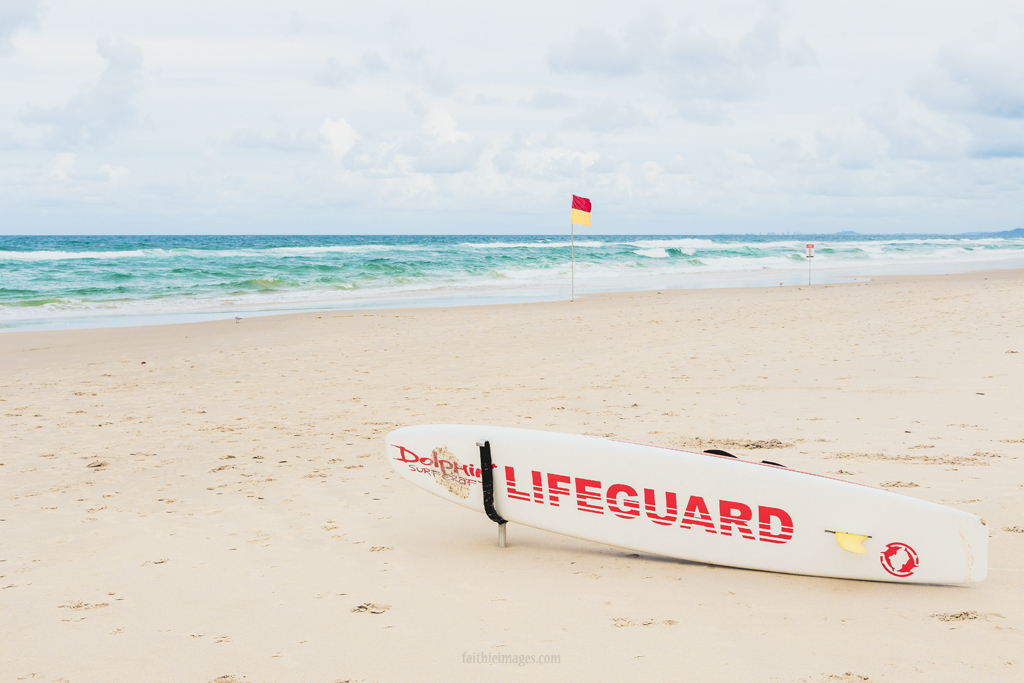 Lifeguard surfboard on an Australian beach