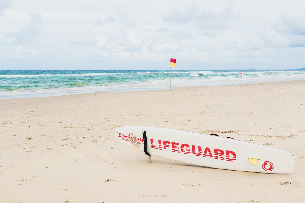 Lifeguard surfboard on an Australian beach