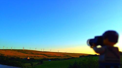camera blue light sunset sky wales fun toy view lego hills valley windfarm iphone project365 adventurerjoe