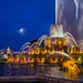 Moon over the fountain by Tony Lau Photographic Art