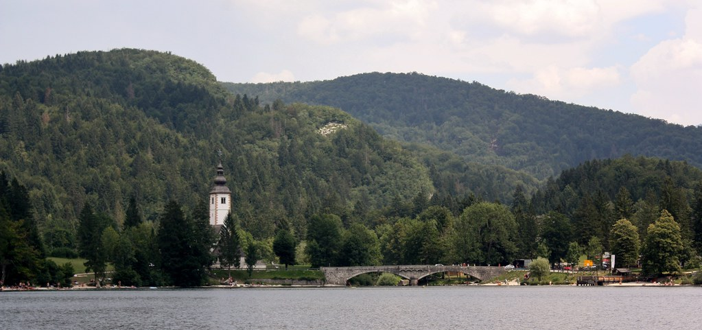 Bohinj view from the boat of St John the Baptist Church
