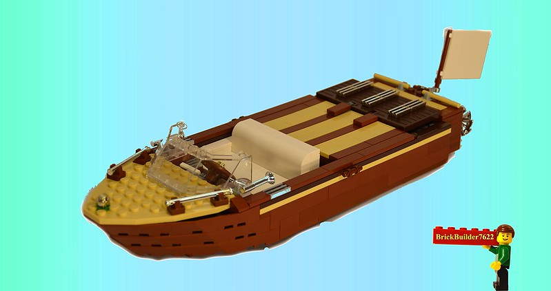 teak wood motor boat a lego creation by john klapheke mocpages
