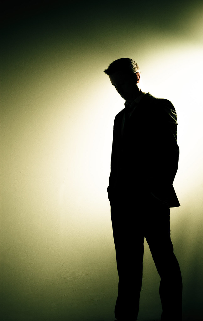 man, male, portrait, silhouette, standing, spotlight, stage, alone