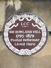 Photo of Rowland Hill brown plaque
