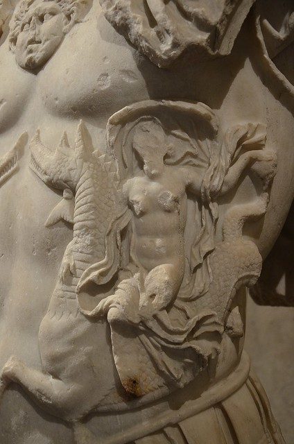 Detail of Loricate torso of Nero, mid 1st century AD, from Bologna via de' Carbonesi, the cuirass is decorated with two Nereids riding on a Ketos and the Gorgon's head, Bologna, Museo Civico Archeologico