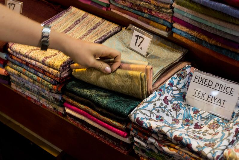 Textiles on Grand Bazaar, Istanbul, Turkey