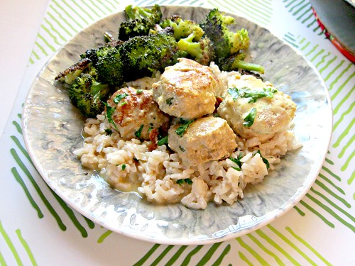 Turkey Meatballs with Rice and Sauce