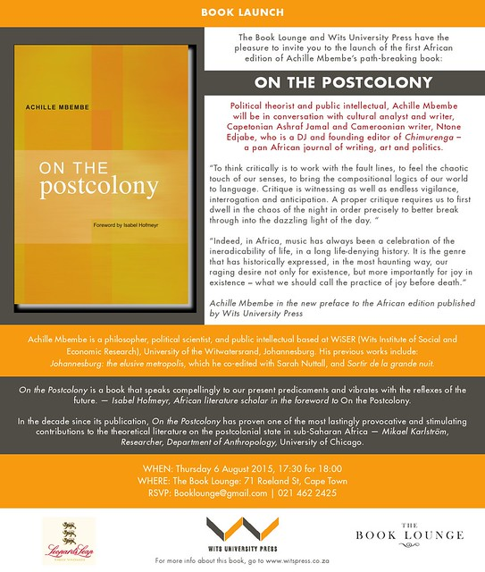 Join Achille Mbembe For The Launch Of On The Postcolony At border=