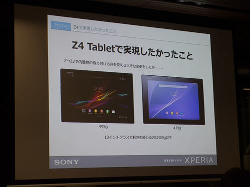 Xperia アンバサダー ミーティング スライド : Xperia Z4 Tablet ではさらなる軽量化を目指したい!