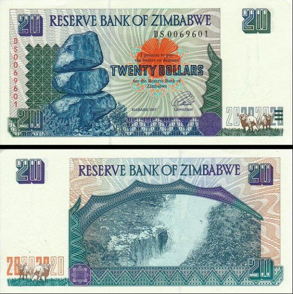 20 Dolárov Zimbabwe 1997, Pick 7a