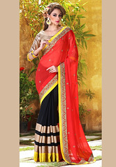 Red and Black faux Georgette and Faux Chiffon Saree