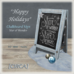 "[CIRCA] - ""Happy Holidays"" - Chalkboard Sign - Star of Wonder"